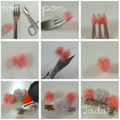Mini Pompom hair clip (in german, but picture tutorial is good enough!)