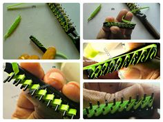How to create a sprig of leaves with a double tooth comb