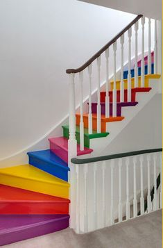 Here we share 16 beautiful pictures of beautiful effect rainbow stairs design, You can add color to your staircase by painting the interior of the staircase Painted Stairs, Painted Floors, Wooden Stairs, Rainbow Room, Rainbow Colors, Pastel Colors, Rainbow Kitchen, Rainbow House, Bright Colours