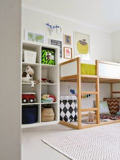Kids bedroom with loft bed, Playspace, IKEA Expedit or Kallax shelf cubby storage organization – Kids Playroom Ideas Play Beds, Kid Beds, Bunk Beds, Sofa Beds, Kura Cama Ikea, Ikea Expedit, Casa Kids, Deco Kids, Cool Kids Rooms