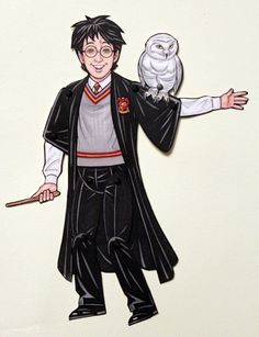 Harry Potter and Hedwig Articulated Paper Doll by ArdentlyCrafted