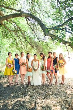 different bridesmaid dresses (plus in coral and blue!)