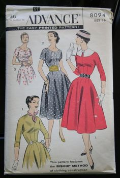 1950s Vintage Sewing Pattern  Advance Printed von TheWayWeWear