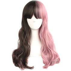MapofBeauty Pink And Brown Curly Wigs Cosplay Wigs ($11) ❤ liked on Polyvore featuring beauty products