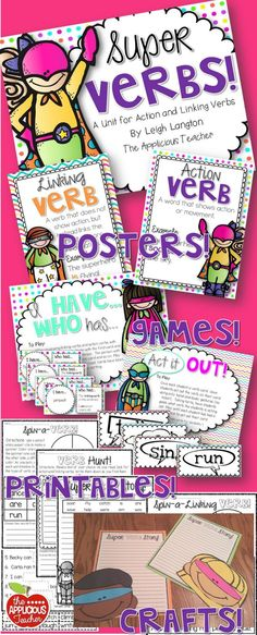 Super Verbs! This pack is full of SUPER CHARGED activities for teacher action and linking verbs. Posters, foldables, crafts, games, and printables. Everything you need! $