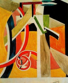 "David Bomberg (1890-1957) - ""The Dancer"" {1913} (Museo Thyssen-Bornemisza, Madrid)"