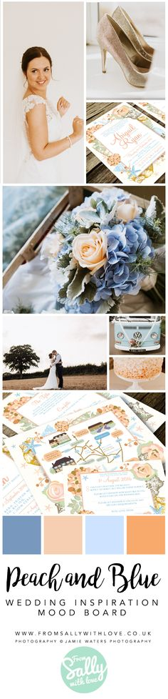 Peach and blue wedding inspiration.   #wedding #invitation #invites #invitations #stationery #blue #peach #pink #babyblue #flowers #shells #photography #shoes #floral #flowers #designer #unique #expert #custom #Personalised #contemporary #busy #illustrated #illustrator #RSVP #gorgeous #pretty #VW #cake