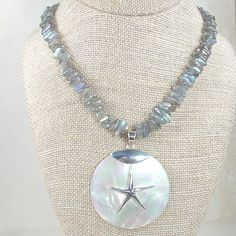 Labradorite Necklace with Large Mother of Pearl and Sterling Silver Starfish Pendant on Etsy, $135.00