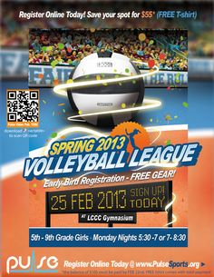 Spring Volleyball League 5th-9th Grade Girls, @Lorain County Community College, Monday Night 5:30-7 or 7-8:30, Starting Feb. 25th 2013, Register Today!