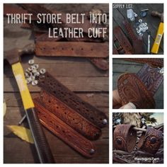 DIY leather cuff - I've also used the strap from an old leather purse too