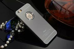 For iPhone 6 6s Plus 5 5s SE 4 4s Case Mirror Cover Luxury Diamond Lady Make Up Gift Light For Apple Noble Light Plastic Hotsale