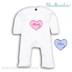 Baby Strampler mit Namen  Herz