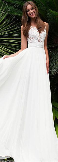 Elegant Tulle & Chiffon Jewel Neckline See-through Bodice A-line Wedding Dress With Lace Appliques #weddingdress