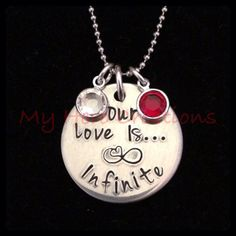 Custom Our Love Is...Infinite HandStamped by MyHeroCreations, $15.00