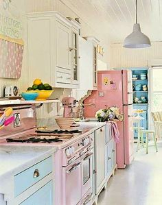 pretty pastel colored kitchen
