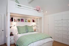 Comfortable Bunk Plans for Share Room: Refreshing Green Blanket Traditional Kids Bedroom Design With Bunk Bed Plans Made From Wooden Material Finished With White Color Design Ideas White Wall ~ SFXit Design Bedroom Inspiration