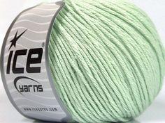 Bahar - Yaz İplikleri Yazlık İplikler Pamuk Bambu Natural Yarn Double Knitting Nane Yeşil  İçerik 60% Bambu 40% Pamuk Mint Green Brand Ice Yarns fnt2-50546 Ice Yarns, Bamboo Light, Light Mint Green, Cotton, Fiber, Low Fiber Foods