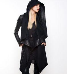 SKINGRAFT - HOODED WOOL COAT IN BLACK