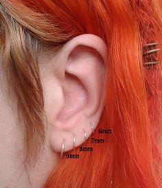 51 Ideas For Piercing Tragus Rook Etsy Tragus, Cartilage Earrings, Cartilage Hoop, Diamond Hoop Earrings, Silver Hoop Earrings, Crystal Earrings, Helix Earrings Hoop, Little Hoop Earrings, Double Earrings