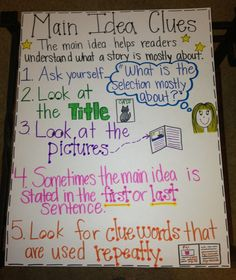Main Idea Clues Anchor Chart-! Idea from Adventures of a 6th grade teacher