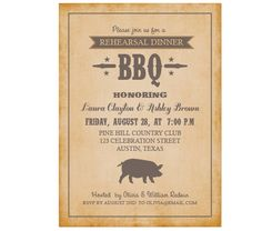 Rehersal Dinner BBQ Party Invitation by AffordablePaperPress, $11.00
