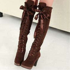 Womens Boots | Charming Brown Round Closed Toe Chunky Super High Heel Boots - Hugshoes.com