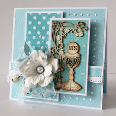 First Communion Cards, First Holy Communion, Christian Cards, Baptism Gifts, Scrapbook Paper, Scrapbooking, Goodie Bags, Flower Cards, Cute Cards