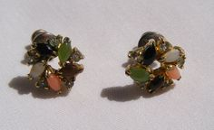 Vintage Post Earrings Faux Jade Coral Opal Tiger's Eye Onyx and Rhinestones, circa 1960s, SOLD
