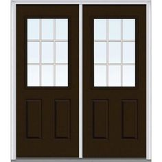 Milliken Millwork 72 in. x 80 in. Classic Clear Glass GBG 1/2 Lite Painted Fiberglass Smooth Double Prehung Front Door - Z005051L - The Home Depot
