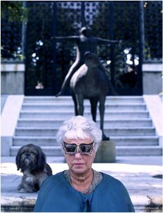 Peggy Guggenheim wearing a pair of gesso sunglasses (the butterfly) made for her by Edward Melcarth