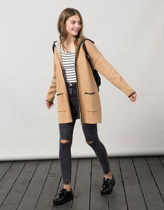 BSK hooded imitation leather detail jacket - Back to School - Bershka United Kingdom