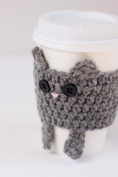 Crocheted Cuddly Grey Kitty Coffee Cup Cozy by CuddlefishCrafts, $25.00