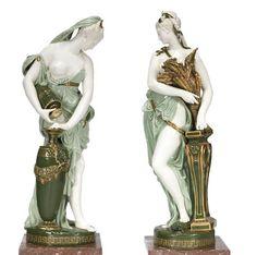 A massive pair of Minton Renaissance Figures by Albert Carrier de Belleuse, with marble plinths, dated 1876