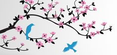 Original and Unique Wall Decals. Large selection of baby nursery decals, decals for kids' room, tree decals great for modern homes Bird Wall Decals, Tree Decals, Nursery Wall Decals, Baby Nursery Decor, Wall Decal Sticker, Cherry Blossom Nursery, Cherry Blossom Art, Branch Drawing, Blossom Tattoo
