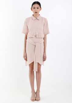 Blush Cropped Shirt With Frayed Hem,  ARIN Blush Overlap Crepe Pencil Skirt With Ribbon, ARIN