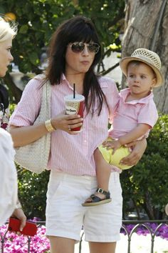 Selma Blair, pretty in pink with baby! Mom And Son Outfits, Mother Daughter Outfits, Family Outfits, Baby Boy Outfits, Mother Son, Selma Blair, Mommy And Son, Mom Son, Toddler Fashion
