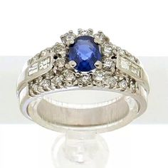 White gold diamond & sapphire ring. 18K white gold ring set with brilliant cut diamonds with a total weight of ca. 0.69ct (F/G VVS1) and a sapphire with a total weight of ca. 0.50ct. | gouden ring | golden rings design | vintage rings | engagement ring | trouw ringen goud | verlovingsring goud | sieraden amsterdam | #spiegelgrachtjuweliers SpiegelgrachtJuweliers.com #ring #rings Vintage Silver Rings, White Gold Rings, White Gold Diamonds, Vintage Jewelry, Golden Ring, Silver Engagement Rings, Ring Designs, Jewels, Diamond