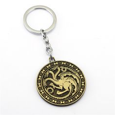 Game of Thrones House Targaryen Key Chain Coupon Stockpile, Game Of Thrones Houses, Best Friend Shirts, Band Tees, Badge, Cool Things To Buy, Bronze, Pendants, Personalized Items