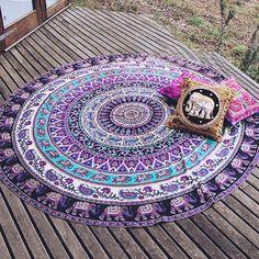 Elephant Tapestry - Round Tapestry - Bohemian Home Decor - Boho Chic Decor…