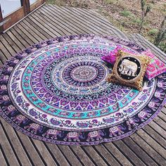 Elephant Tapestry - Round Tapestry - Bohemian Home Decor - Boho Chic Decor…