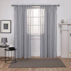Santos Embellished Stripe Textured Linen Sheer Rod Pocket Window Curtain Panel Pair