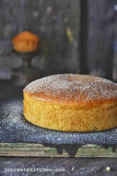 Use vegan yogurt for Lemon Sponge Cake (Egg-free). This could be made corn free if I made the baking powder and powdered sugar and replaced the oil with butter. Eggless Desserts, Eggless Recipes, Eggless Baking, Lemon Recipes, Vegan Baking, Baking Recipes, Cake Recipes, Dessert Recipes, Eggless Lemon Cake