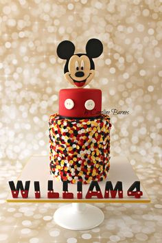Mickey Mouse cake with edible confetti and 2D topper - Love Cake Create