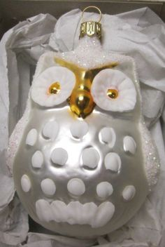 Glass Snowy Owl - made in West Germany
