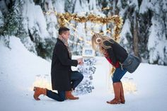 He proposed in the snow with the most beautiful set-up with lights and photos, and she was so surprised!