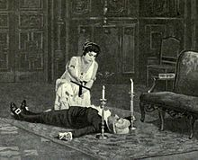 The body of a man lies supine, with a woman, crucifix in hand, kneeling over him. A candle is placed to each side of his head.