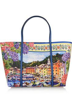 Dolce & Gabbana's 'Escape' tote is printed with a picturesque seaside 'Portofino' scene. #DolceGabbana