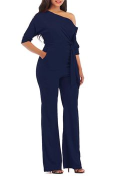 df6f948eb0 Plain Pocket High-Waist Lace-Up Women s Jumpsuits