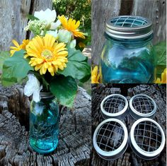 Mason Jar Flower Frog LIDS - Set of 12 - Handmade Upcycled DIY Flower Arrangers - Wedding Bouquet or Centerpiece, Woodland, Shabby