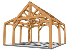 This simple 2020 timber frame king post plan works as a small cabin or workshop. Timber Frame Homes, Timber House, Free Shed Plans, Build A Playhouse, 3d Modelle, Pole Barn Homes, Kabine, Brick Patios, Post And Beam